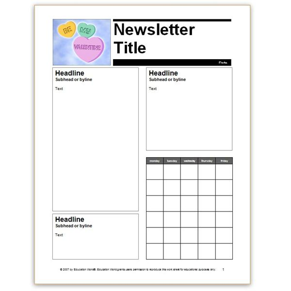 newsletter template for school